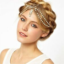 UK Gold Pearl Chain White Bead Crown Tikka Head Hair Cuff Headband Headpiece