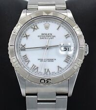 Rolex Datejust Turn-O-Graph 16264 Date Oyster 18K White Gold Bezel Watch PAPERS