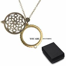 Vintage Gold Chain Women Magnifying Glass Flower Design Pendant Necklace + A Box