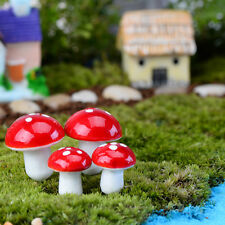 10Pcs Mini Red Mushroom Garden Ornament Miniature Plant Pots Fairy Diy Dollhouse