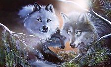 """Eyes Of The Forest"" (Wolves) by Carole Bourdo S & N Limited Edition 20 x 30"