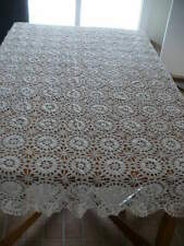 Antique Crochet Lace Tablecloth or Bedspread Beige Color