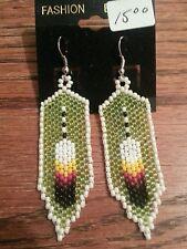 beaded feather earrings