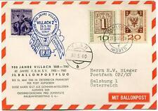 1960 Ballonpost n. 23 Pro Juventute Aerostato Villach 2 V.B.M.S.V. Zlan