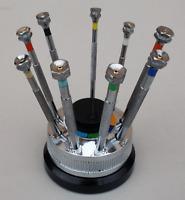 9 Piece Screwdriver Set pro watch repair  tools revolving stand
