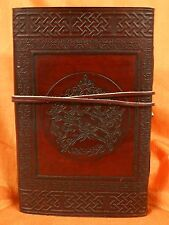 "Pentagram 6x9"" Leather Journal Diary Handmade Paper Wiccan"