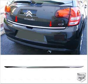 Chrome rear tailgate under trim stainless steel for citroen c3 mk2 2009-2016