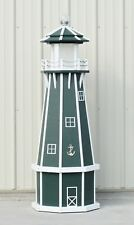 5' Octagon Electric and Solar Powered Polywood Lighthouse (Green/ white trim)