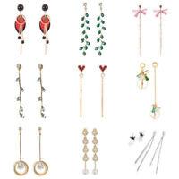 Women 925 Sterling Silver Long Tassel Drop Dangle Stud Earrings Jewelry Gifts