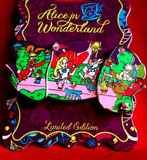 Disney Pins 2016 Alice in Wonderland Mad Tea Party Limited Edition Pin+2017 Map