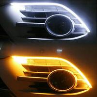 2pcs 60cm Car Flexible Switchback LED Strip Tube DRL Light Sequential Dual Color