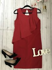 Next Size 10 red fitted pencil party occasion going out dress key hole back vgc