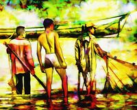 """perfect 48x24oil painting handpainted on canvas """"three men in the river""""""""@N1485"""