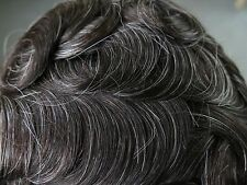Mens Hair Replacement System Hairpieces French Lace Toupee Human Grey #580