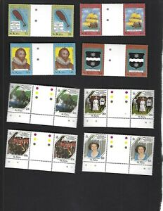 St. Kitts sc#173-80 (1985) Complete Gutters MNH