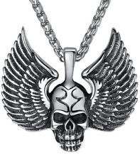 Men's Jewelry Stainless Steel Wing Skull Gothic Biker Pendant Necklace