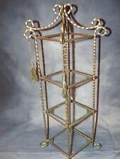 Vintage Brass & Glass 3 Shelf Counter Top Display Stand - Perfume Knick Knacks
