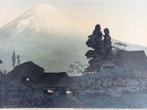 Antique Woodblock Print Ukiyoe Shotei Takahashi Hiroaki Mount Fuji Evening Scene