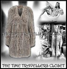 Topshop Kate Moss Rare Shaggy Grey White Fleck Faux Fur Groupie Jacket Coat UK12