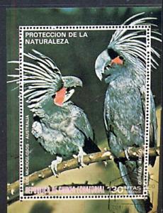 1974 De GUINEA ECUATORIAL  AUSTRALIAN  Palm Cockatoo MINI SHEET CTO