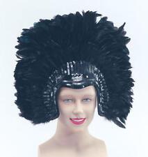 Black Deluxe Feather Headdress Dancer Drag Queen Fancy Dress