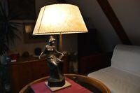 Antique French ART Nouveau 1910's  Figural Bronze Lamp Marked L Science