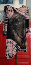 Marilyn Monroe Tie Dye Dress Longer At Sides Distressed 3/4 Sleeves Sz M