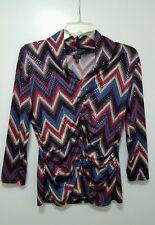 Rafaella Studio Top Blouse Chevron Purple Fuchsia Blue Shiny Sequin Shirt Sz MM