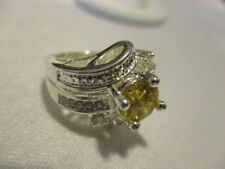 AVON Stunning CZ Cocktail Ring Silvertone Yellow CZ Center Rhinestones Size 5