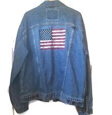 Vintage Levi's Denim Trucker Jean Jacket American Flag Red Tag Levis 70507-0389