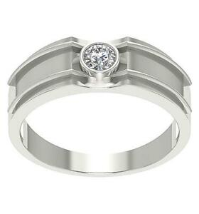 SI1 G 0.31Ct Natural Diamond Ring Solitaire Mens Engagement 14K White Gold RS 13
