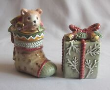 Christmas Salt & Pepper Shakers Fitz & Floyd Winter Holiday Santa Pattern New