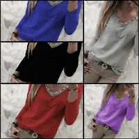 Pullover Casual Jumper Solid T-Shirt Loose Tops V Neck Womens Long Sleeve