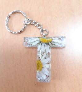 🌸 Pretty Initial Keyring A-Z Daisy & Silver Foil Birthday Gift Bag Charm 🌸