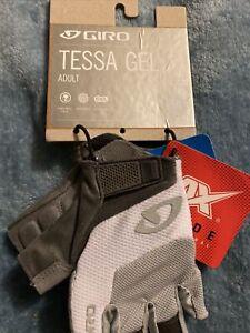 Giro Tessa Gel Womans Glove Gray White Suede Medium 7 Cycle