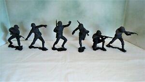 "Set of 6 Marx SP 6"" WWII German Infantry Bulk Toy Bin Figures - Playset"