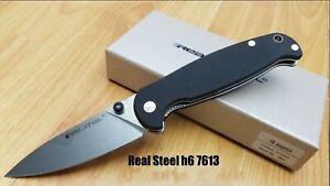 RS7613 Real Steel H6 Elegance Black G-10 Handle 14C28N Blade Linerlock Clip