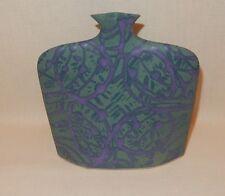 "Handcrafted 7"" Slab Flat Flask Bottle Vase by Earth & Sky Pottery Green Purple"