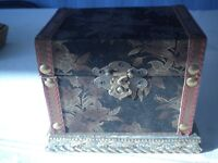 "Vintage Jewelry/Trinket Box -Brass closure, Velvet & Leather Clad Wood 6"" wide X"