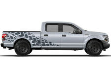 Vinyl Decal Wrap Kit TIRE TRACKS for Ford F-150 2015-2017 GRAY SuperCrew 6.5 Bed