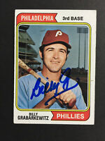 Billy Grabarkewitz Phillies Signed 1974 Topps Baseball card #214 Auto Autograph