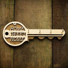 Wooden Key Holder Key Shaped Hanging Key Rack Hand Made - Birch Ply 4 Hooks