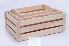 WOODEN STORAGE CRATES SET OF 3 -  PLAIN WOOD BOX DECOUPAGE CRATE SN100K