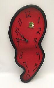 Custom Mad Hatter Alice In Wonderland Red Melting Clock