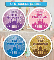 48 Eid Mubarak Celebration Stickers Labels for Party Bag Seals GLOSSY MATT