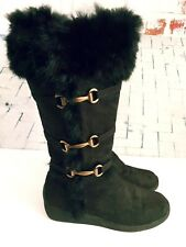 Noelle Collection Womens 7 Black Suede Fur Trim Boots Tall Buckle Side Zip Fall