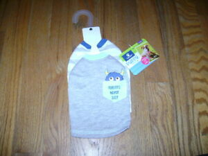NWT top paw Puppy Dog Apparel Outerwear 2 Pack MONSTER TEE T SHIRT GRAY Size XXS
