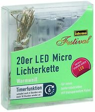 IDENA LED Micro Lichterkette 20er warmweiß für innen mit Timer 220cm 31118