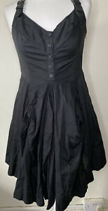 AllSaints Black Amikiri Dress Size 12 Leather Straps Bustle Skirt Steampunk NWOT