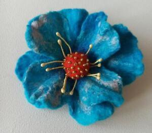 Poppy Fashion brooch pin handmade felted wool